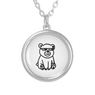 bear_glasses_hd_space silver plated necklace