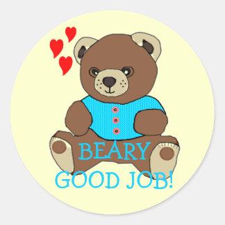 Bear-Good Job Teacher's Homework Round Sticker