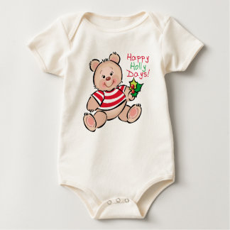 Bear Happy Holly Days Christmas Baby Bodysuit