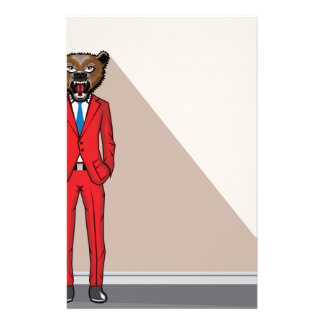 Bear head man vector illustration personalized stationery