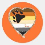 Bear Heart Pegatina Redonda