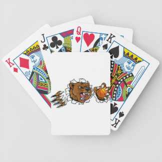 Bear Holding Basketball Ball Breaking Background Bicycle Playing Cards