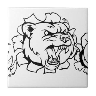 Bear Holding Tennis Ball Breaking Background Ceramic Tile