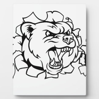 Bear Holding Tennis Ball Breaking Background Plaque