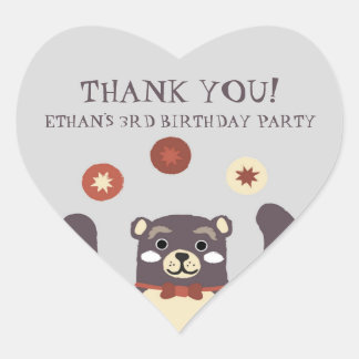 Bear Hug Boys Birthday Party Thank You Heart Sticker