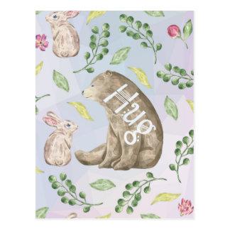 Bear Hug - Cute Animal Love Illustration Postcard