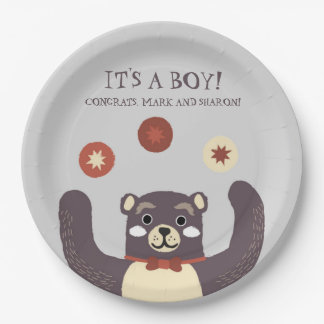 Bear Hug It's a Boy Baby Couples Shower Paper Plate