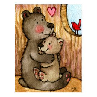 Bear Hugs - Cute Teddy Bear Art Post Card