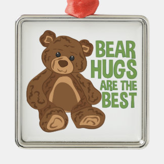 Bear Hugs Silver-Colored Square Decoration