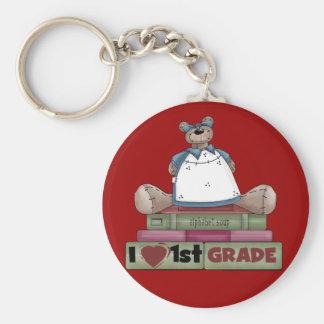 Bear I Love 1st Grade Tshirts and Gifts Keychain