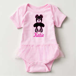 Bear in Black and Pink - Add Name Baby Tutu Baby Bodysuit