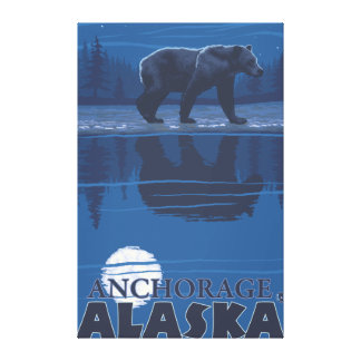 Bear in Moonlight - Anchorage, Alaska Stretched Canvas Prints