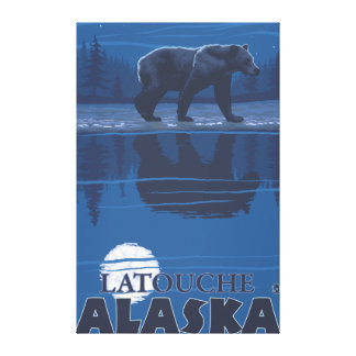 Bear in Moonlight - Latouche, Alaska Gallery Wrapped Canvas