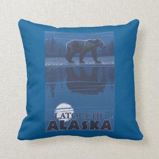 Bear in Moonlight - Latouche, Alaska Throw Pillow