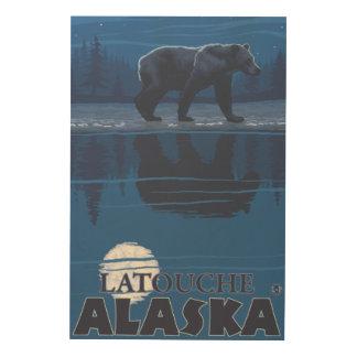 Bear in Moonlight - Latouche, Alaska Wood Print