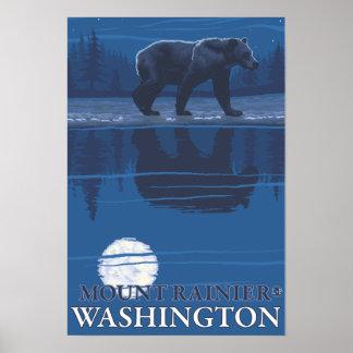 Bear in Moonlight - Mount Rainier, Washington Poster