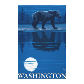 Bear in Moonlight - Washington Canvas Print