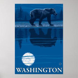 Bear in Moonlight - Washington Poster