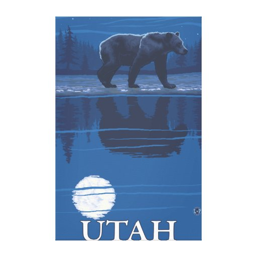 Bear in MoonlightUtah Stretched Canvas Print
