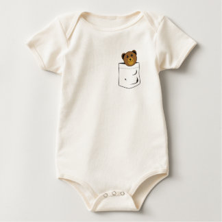 Bear in pocket baby bodysuit