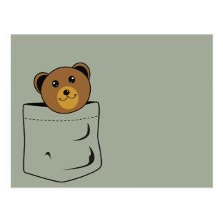 Bear in pocket postcard
