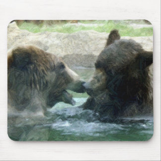 bear in water pencil art mouse pad