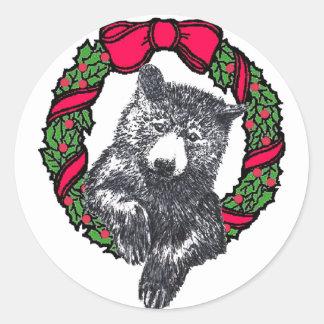 bear in wreath round sticker