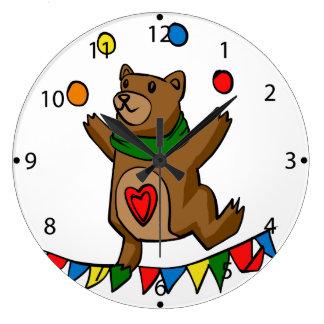 Bear juggling large clock