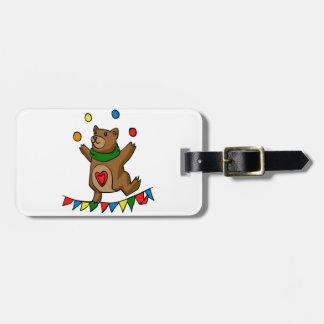 Bear juggling luggage tag