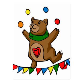 Bear juggling postcard