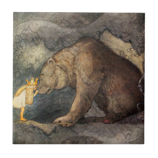 Bear Kiss Small Square Tile