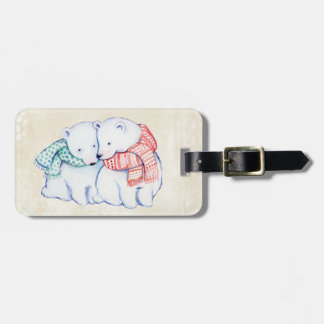 BEAR LUGGAGE TAG. CUTE POLAR BEARS HUGGING LUGGAGE TAG