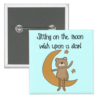 Bear Moon and Stars Tshirts and Gifts Button