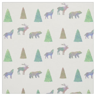 Bear Moose Wolf Fabric Pattern