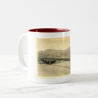 Bear Mountain Bridge, Hudson River NY, Vintage Two-Tone Coffee Mug