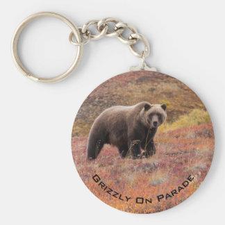 Bear Moves Through Autumn Colors In Alaska Key Ring