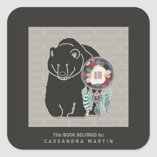 Bear Native American Animal Spirit Book Square Sticker
