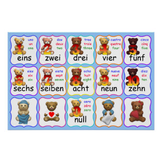 Bear Numbers Education, numbers, English, French, Poster