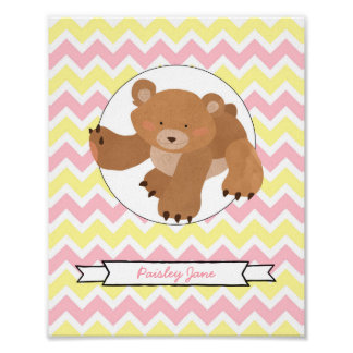 Bear Nursery Wall Art with your name / pink yellow Poster