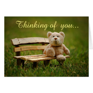 Bear on Bench Thinking of You Card
