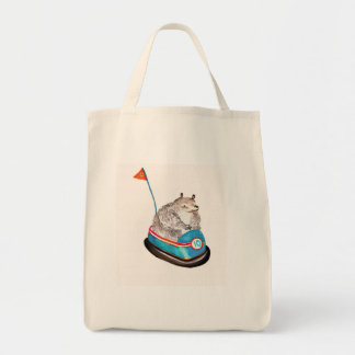 bear on bumper grocery tote bag