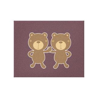 Bear on plain plum background. canvas prints