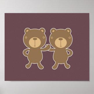 Bear on plain plum background. poster
