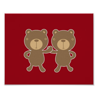 Bear on plain preppy red background posters