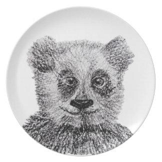 Bear PANDA Panda Drawing Melamine Plate