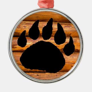 BEAR PAW PRINT AND LOGS METAL ORNAMENT