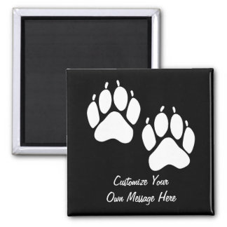 Bear Paw Prints Square Magnet