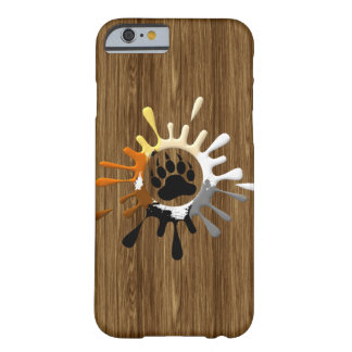 Bear Paw Splash Bear Pride Colors on wood print Barely There iPhone 6 Case