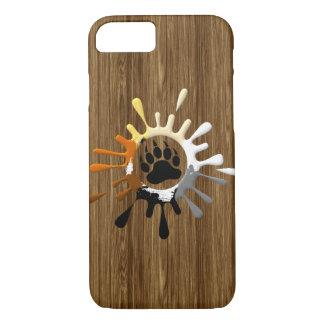Bear Paw Splash Bear Pride Colors on wood print iPhone 7 Case