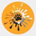 Bear Paw Splash Bear Pride Colours Round Sticker